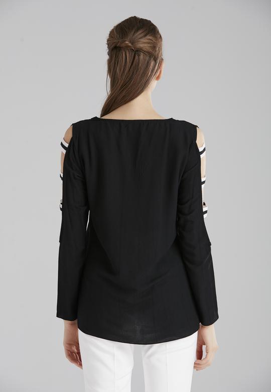 Kolu Şeritli Bluz