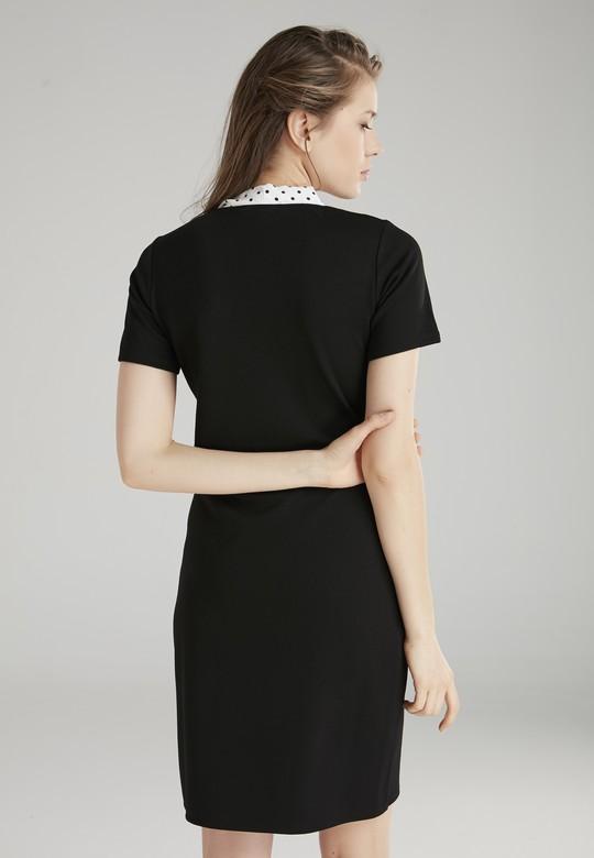 Yakası Puantiyeli Elbise