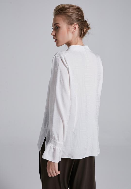 Yakası Bağcıklı Gömlek