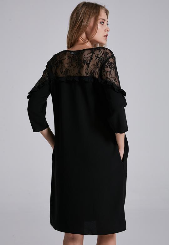 Dantelli Uzun Kollu Elbise