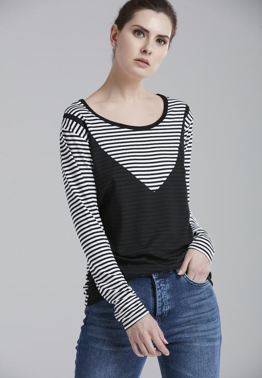 Çizgili Baskılı Tişört