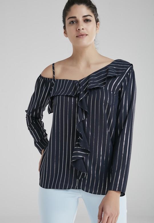 Simli Fırfırlı Bluz