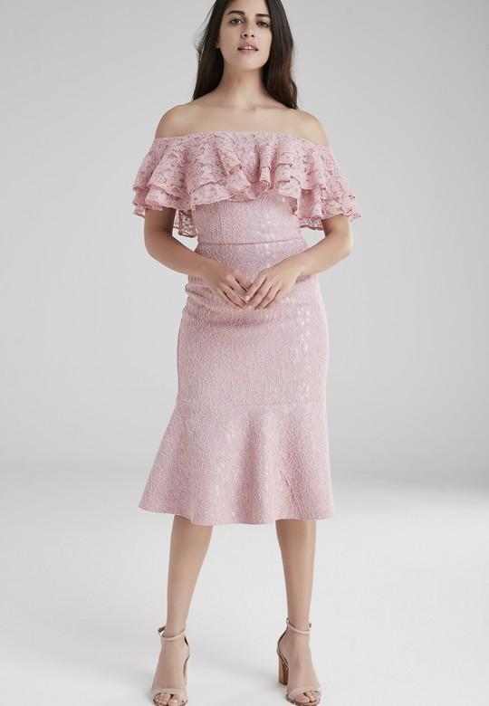 Volanlı Dantel Elbise