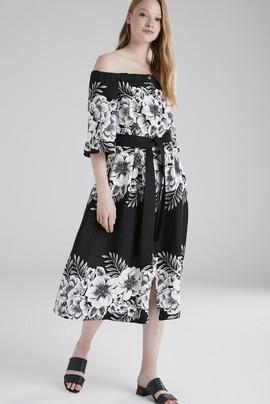 Beli Kuşaklı Desenli Elbise