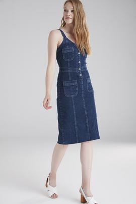 Askılı Jean Elbise