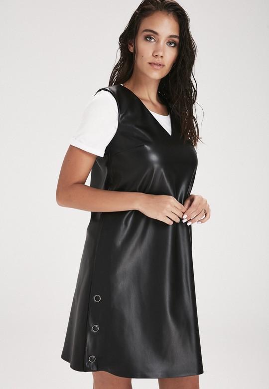 Deri V Yaka Elbise