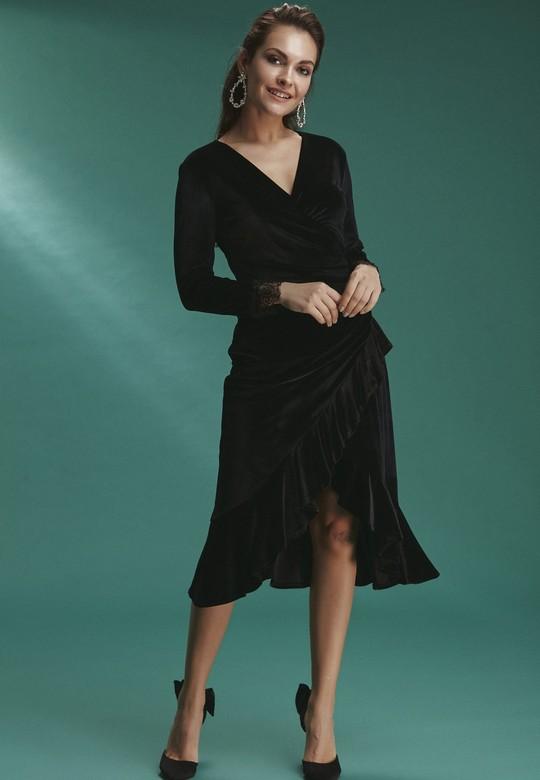 Etegi Volanlı Kadife Elbise