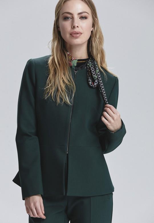 Uzun Kollu Fermuarlı Ceket