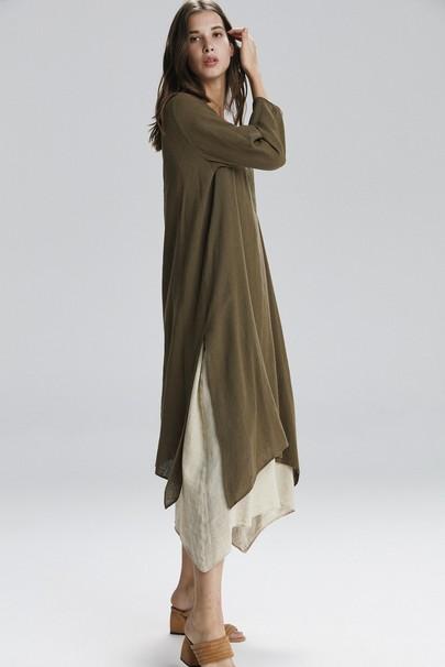 Uzun Keten Elbise