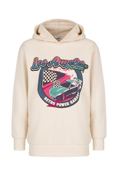 Baskılı Kapişonlu Sweatshirt
