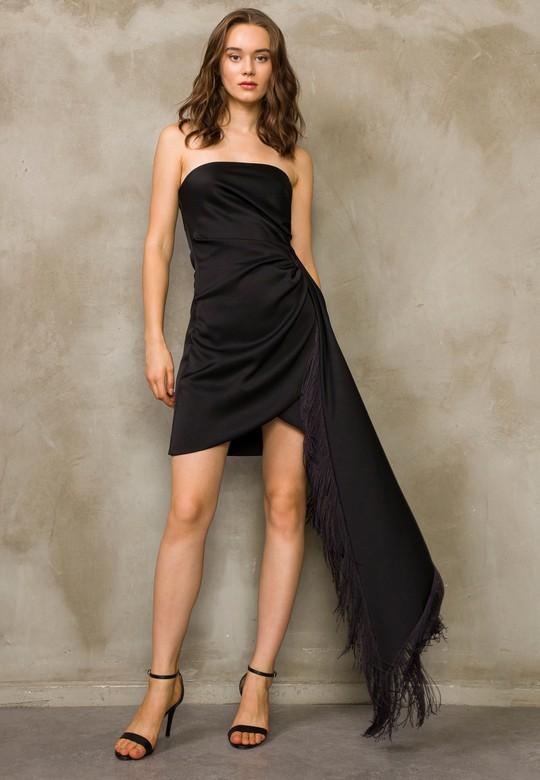 Straplez Püsküllü Elbise
