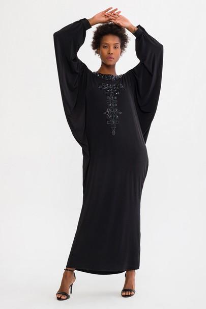 Omuzları Açık Taşlı Elbise