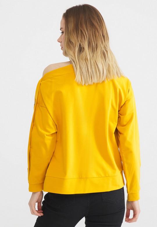 Omuzu Açık Düğmeli Sweatshirt