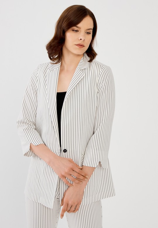Çizgili Tencel Ceket