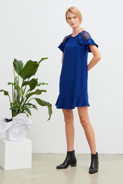 Dantelli Volanlı Krep Elbise