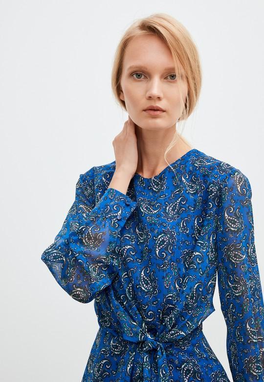 Bağlamalı Desenli Şifon Elbise