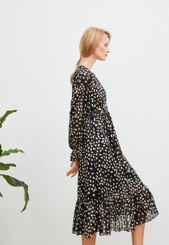 Büzgülü Desenli Şifon Elbise