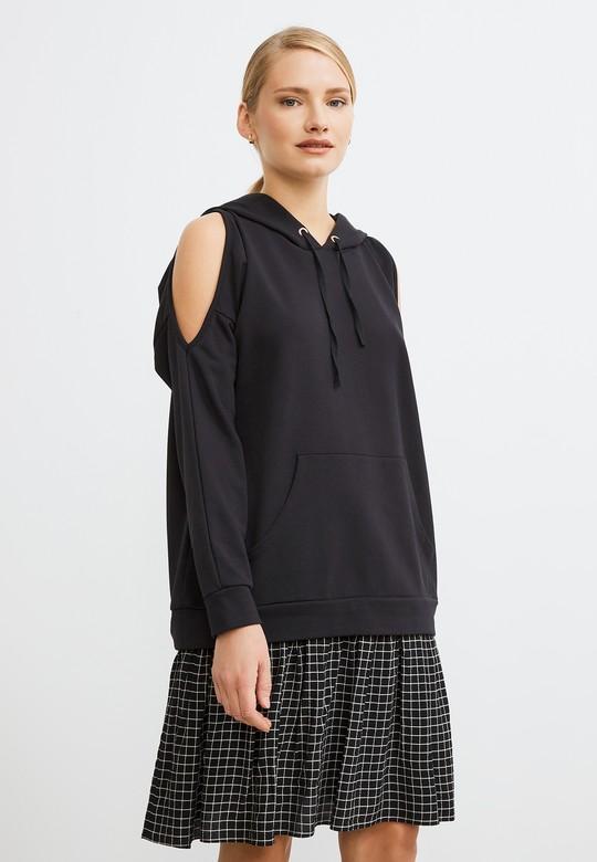 Omuzları Yırtmaçlı Sweat Elbise