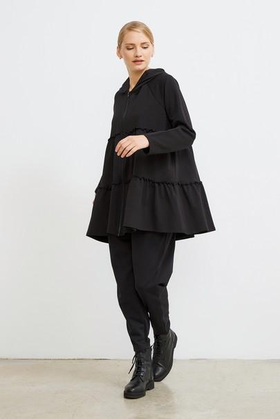 Büzgü Detaylı Kapüşonlu Sweatshirt