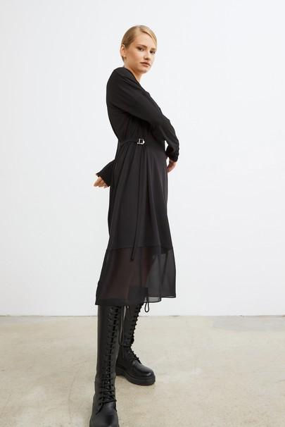 Bağlamalı Etek Ucu Şifon Elbise