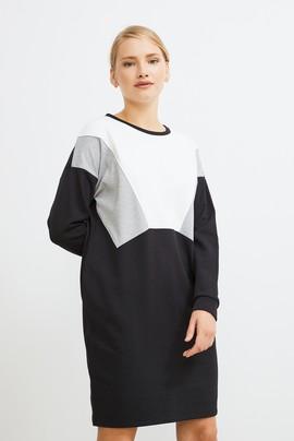 Kontrast Renkli Sweat Elbise