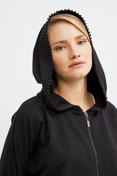 Kapüşonlu Boncuk Detaylı Sweatshirt