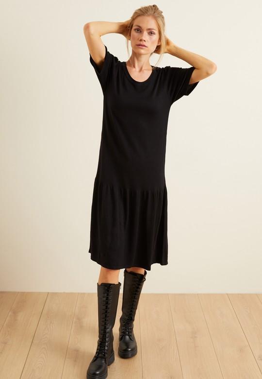 Etek Ucu Büzgülü Triko Elbise
