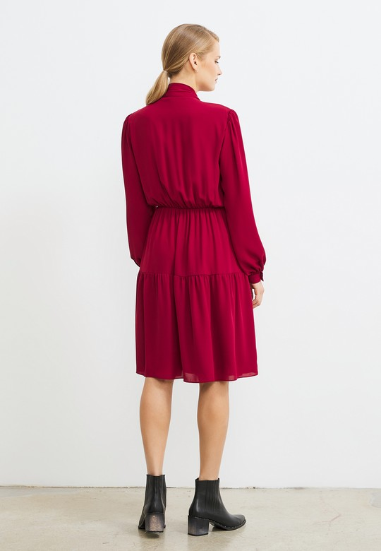 Bağlamalı Beli Lastikli Elbise