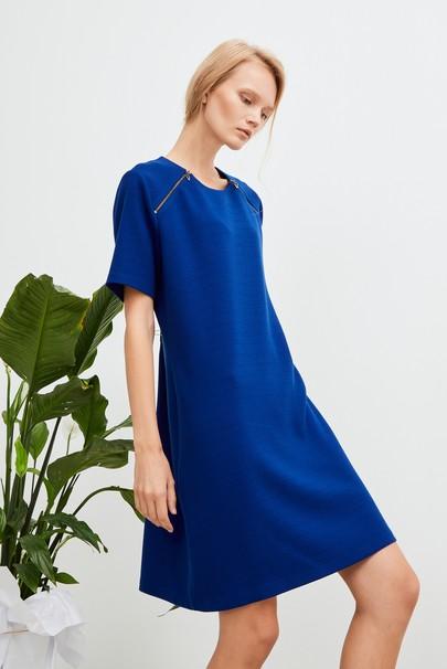 Fermuar Detaylı Krep Elbise