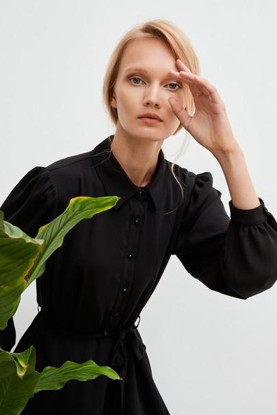 Gömlek Yaka Şifon Elbise