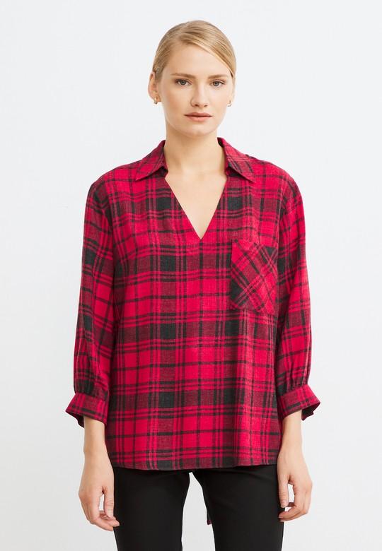V Yaka Ekose Desenli Bluz