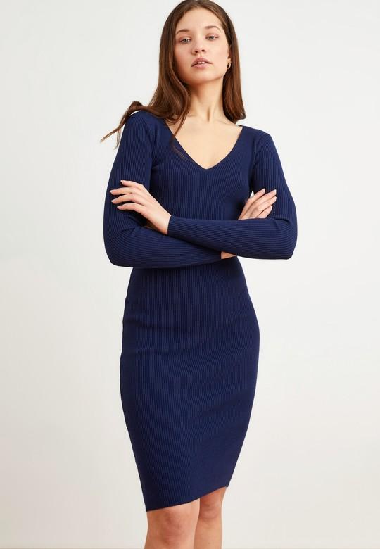 Bağlama Detaylı Triko Elbise