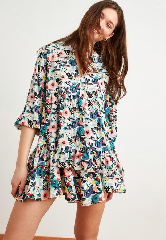 Büzgü Detaylı Desenli Bluz