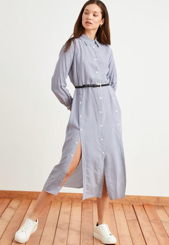 Çizgili Kemerli Gömlek Elbise