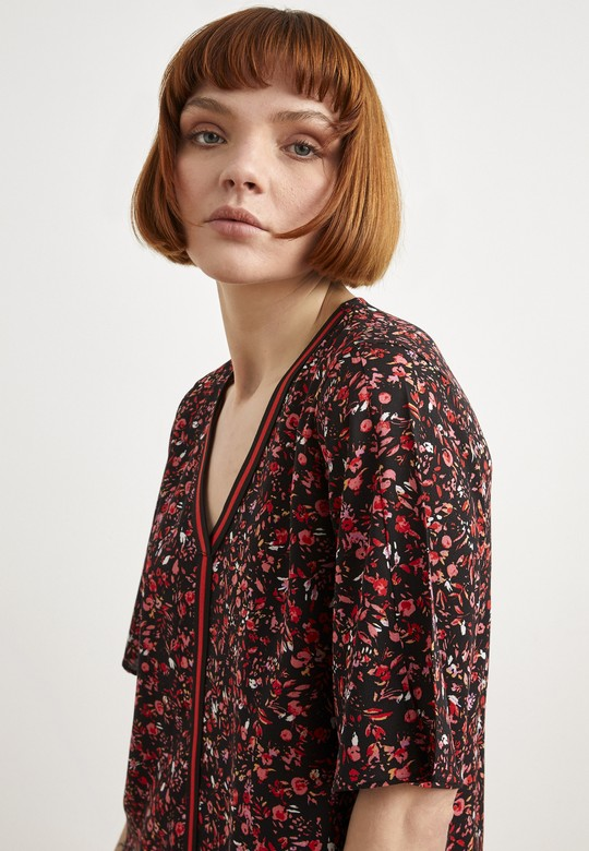 Şerit Detaylı Desenli Elbise