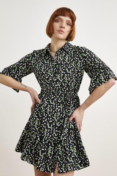 Belden Bağlamalı Desenli Elbise