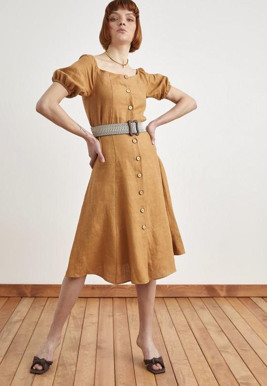 Düğmeli Beli Kemerli Keten Elbise
