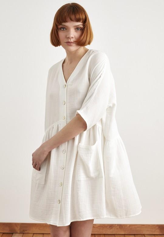 Önü Düğmeli Büzgülü Elbise