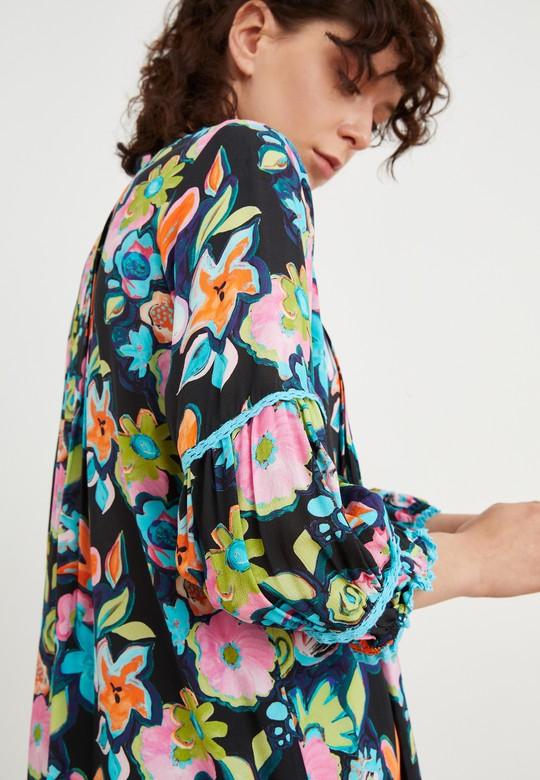 Yakası Fırfırlı Desenli Bluz