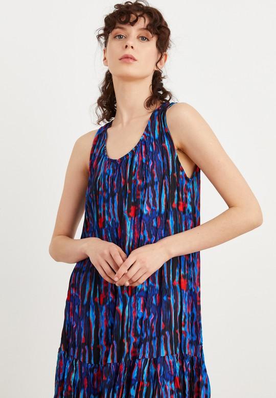 Desenli Pliseli Kolsuz Elbise