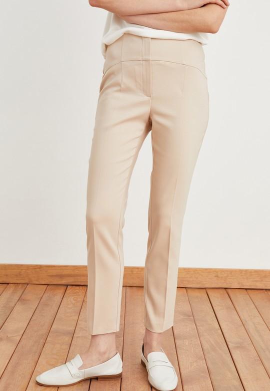 Yüksek Bel Pervazlı Pantolon
