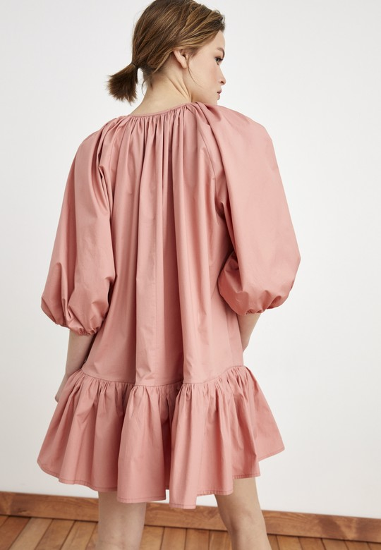 Balon Kollu Volanlı Elbise