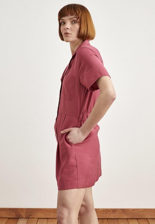 Arkası Lastikli Düğmeli Elbise