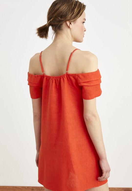 Büzgü Detaylı  Keten Elbise