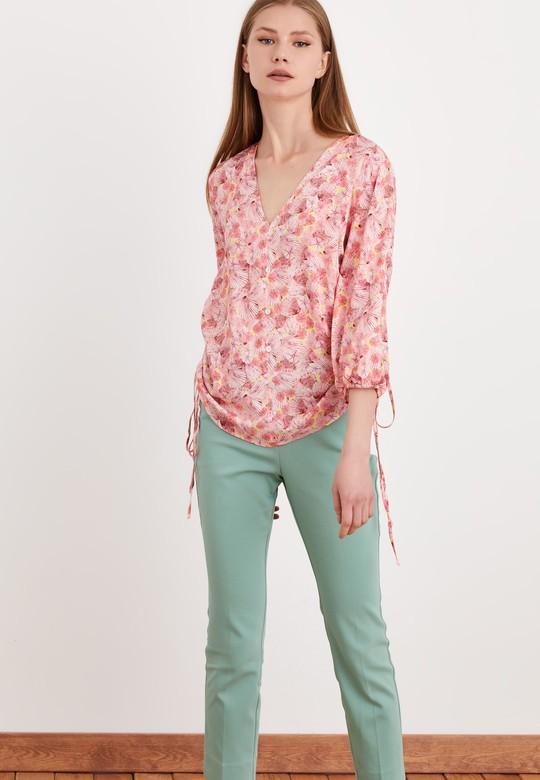 Ayarlanabilir Kanallı Desenli Bluz