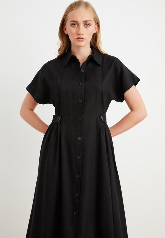 Gömlek Yaka Bantlı Elbise