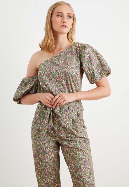 Tek Omuzlu Desenli Bluz