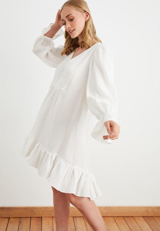 Kruvaze Büzgülü Elbise
