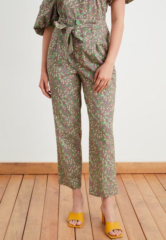 Yüksek Bel Desenli Pantolon