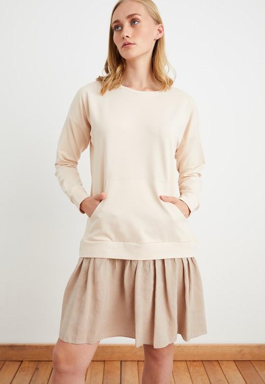 Kontrast Garnili Sweat Elbise